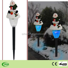 Outdoor Christmas ornaments polyresin snowman with plastic solar stake