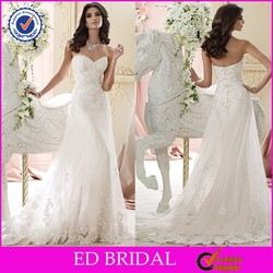 Attractive YH2605 Strapless Sweetheart Lace Appliqued See-through Skirt Lace Pattern Wedding Gown