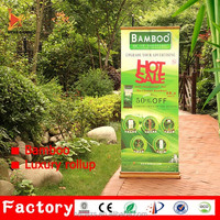 New discount bamboo portable pull up banner aluminum rollup display stand