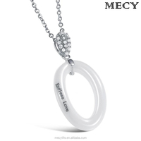 MECY LIFE elegant O shaped ceramic pendants necklace for women