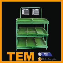 Durable Safe 3 Layers Supermarket Vegetable and Fruit Display Shelf