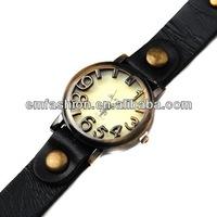 Vintage genuine cow leather watch punk ladies women's quartz watch