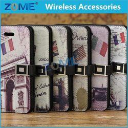 original cellphone case for iphone 5c Vintage soft paris eiffel tower leather case