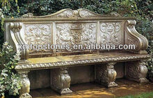 carved marble garden bench