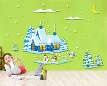 Free Shipping Wall Stickers Frosty The Snowman Poster Removable PVC WALL DECAL Christmas Room Decor Stickers AM9046