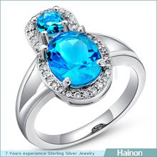 2015 AAA blue zircon wedding ring wholesale filled platinum