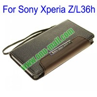 Litchi Lines Wallet Style Leather Case Cover for Sony Xperia Z L36h With Card Slots and a Sling