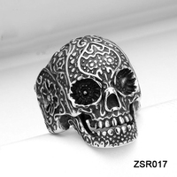 HOT Exquisite Casting Heavy Biker Jewelry 316L Stainless Steel Lacework Skull Ring for Men