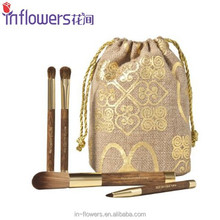 Eco-friendly cosmetic brush set with bag