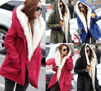 Elite99 New Ladies Hooded Parka Fleece Top Winter Warm Coat Women's Long Jacket Overcoat