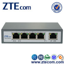 ZTEcom Plug and play High Power 5 ports PoE Network Switch with CE