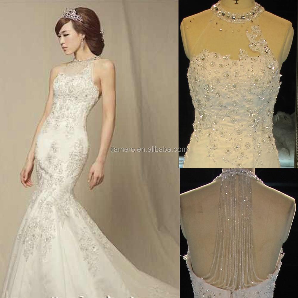 Th5474j guangzhou factory halter dress mermaid wedding for Low cut mermaid wedding dress