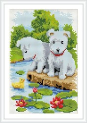 wall art little dog diy diamond painting on canvas with wooden frame CZ028