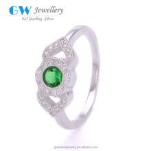 China Factory Direct Sale 925 Sterling Silver Minimum Price Of Diamond Ring Green Gem Ring