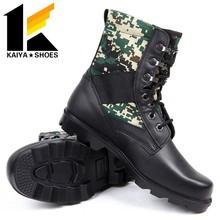 การรักษาความปลอดภัยเหล็กนิ้วเท้ารองเท้าอำพรางกองทัพตำรวจในสีดำ