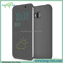 for htc m9 dot view case, side flip smart dot view case for htc m9, gray
