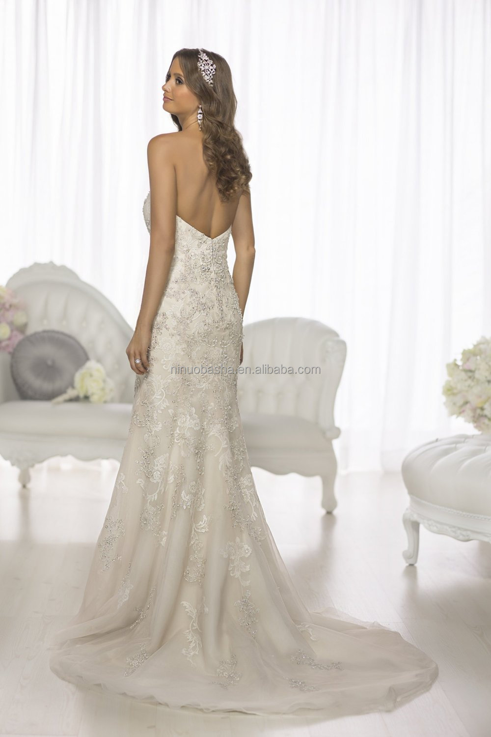 Top quality 2015 strapless sweetheart neckline low back for Beaded low back wedding dress