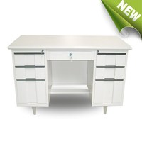 Double side office desk with 6 drawers storage cabinets