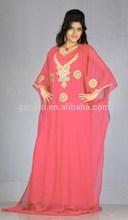 Nueva moda gasa roja manga larga vestido de musulmán 2015
