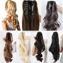 HOT SALE LONG CURL BROWN PONYTAIL INDIAN HUMAN HAIR EXTENSION CLIP ON PONY