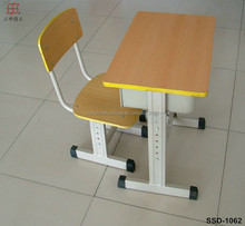 2015 hot style wood standard classroom single school desk with bench /school student shelf desk and chair/school desk prices