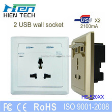 3 pin plug wall socket with usb port dual usb port 2.1A for ipad for iphone charging