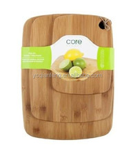 Bamboo Cutting boards - 3Pieces set, round edge with hanging hole.