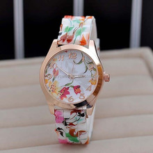 Antique countryside flower silicone watch,printing quartz watch