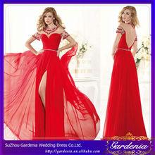 2014 vestido de noche de moda colección manga larga vestido de noche rojo