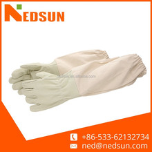 Canvas cuff long sleeve leather gloves for safety