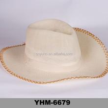 2015 fancy men's paper straw trilby hat beach sun visor fedora cap wholesale