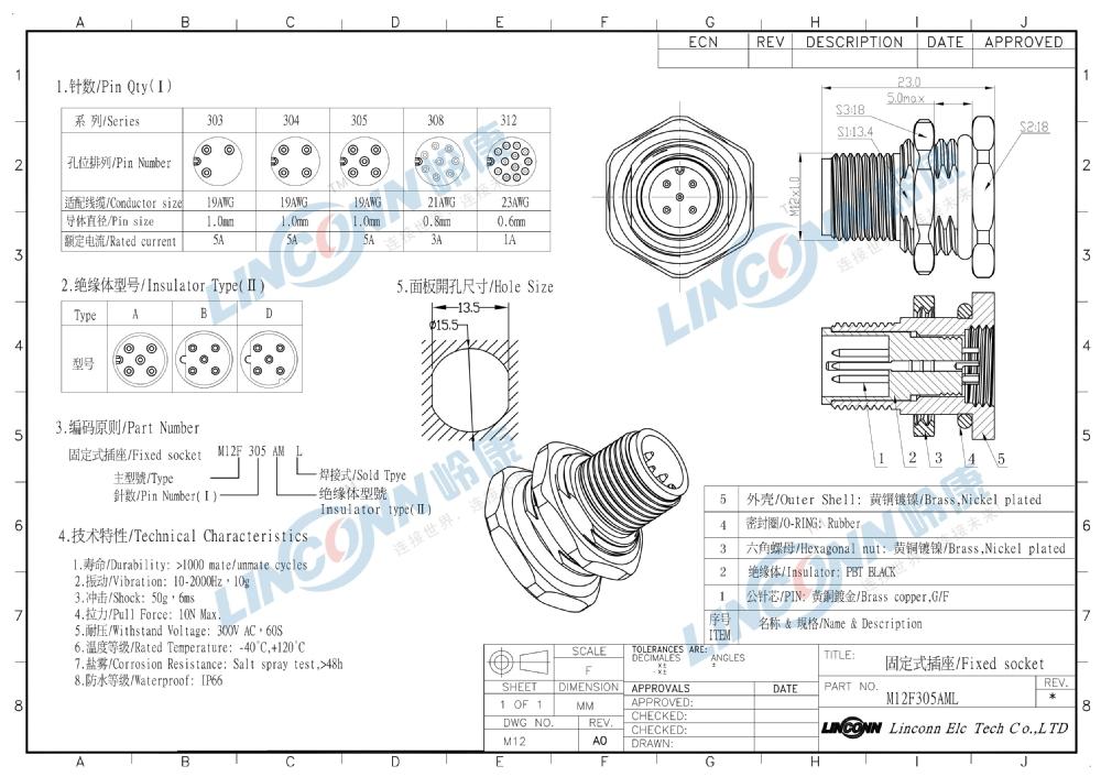 M12 5 Pin Ip67 Male Amp Female Connector Locking Type M12