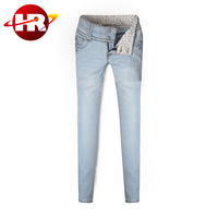 Wholesale 2016 New model slim fitting female botton high-waisted jeans pants in nice looking