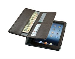 for ipad mini folio pu leather case with wallet and card slot from factory