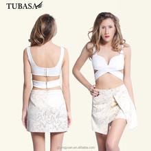 High Quanlity White Polyester Cami Top Women Plain Crop Tops
