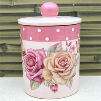 Red Ceramic Kitchen Tea Coffee Canister