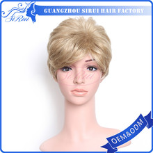 wholesale short synthetic wigs lace front , haircut wig , bald curly clown wig
