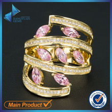 Elegant pink cubic zircon stone ring for lady