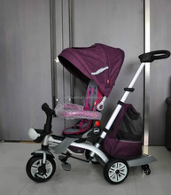 2015 baby luxury tricycle wtih big canopy and big wheels ,the seat can change into mom to kid