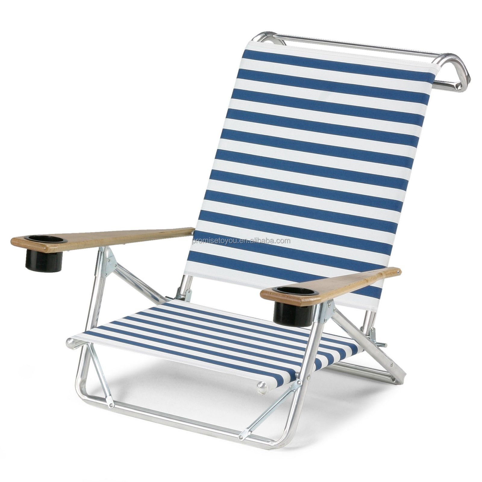 Beach chair 5 position chair with cup holder insulated for Chaise pliable