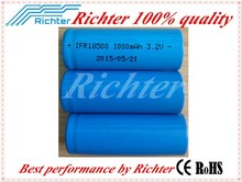 High performance durable lithium battery lifepo4 battery IFR18500 3.2V 1000mAh rechargebale bttery