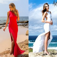 Long Women Dress Bandage Party Evening Dress Red White Two Colors Sexy Ladies Maxi Dress