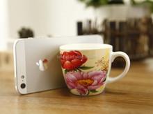Fashion flowers ceramic coffee mugs set with modern design