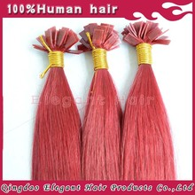Shiny Red Silky Straight Vietnamese Flat Tip Hair Extensions Double Weft,Human Hair Product