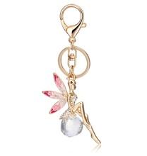 2015 new fashion jewelry crystal keychain gold metal dance keychain
