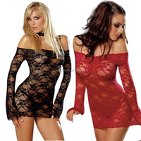 Hot sexy see-through lace transparent skirt Dew shoulder appeal nightgown Lingerie manufacturer direct selling