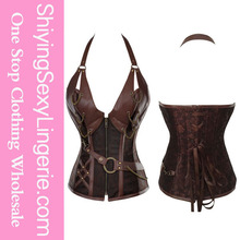 2015 alibaba china 14 Steel Bone Steampunk xxxl sexy leather Corset with Thong hot sexi photo image