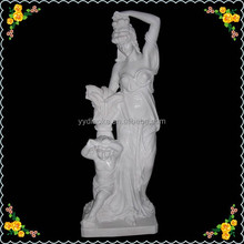 Marble long lasting garden uncoated statues girl