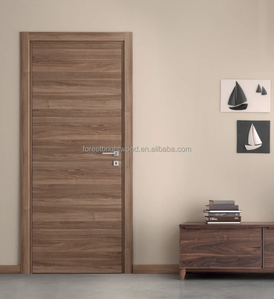 Veneer interior flush wooden doors with invisible hinges Flush interior wood doors