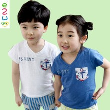 Wholesale 100% Cotton V-Neck Short Sleeve Children T-shirt